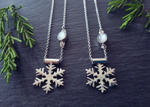 Sterling Silver and Moonstone Snowflake Pendant