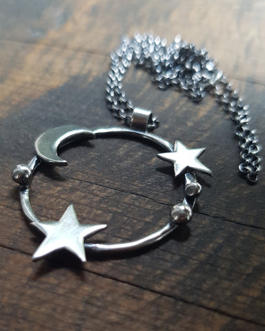 Moon and Stars Sterling Silver Pendant