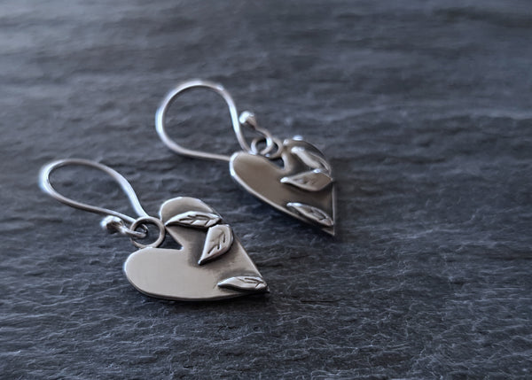 Sterling Silver Embrace Love Heart Drop Earrings