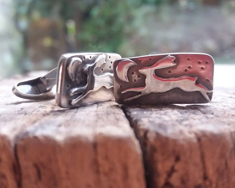 Leaping Hare Under the Moon Sterling Silver Cufflinks
