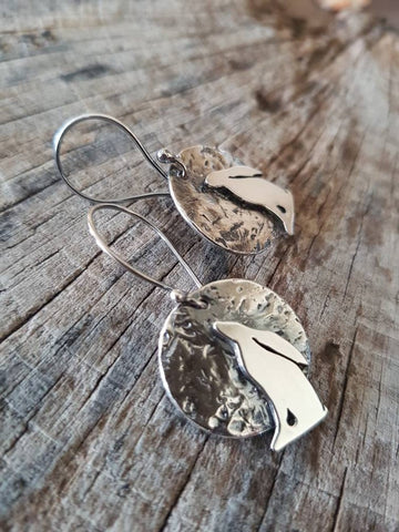 Moongazing Hare Sterling Silver Earrings