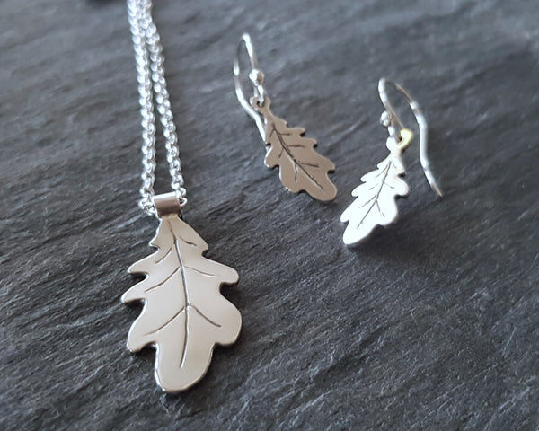 Sterling Silver Oak Leaf Drop Earrings