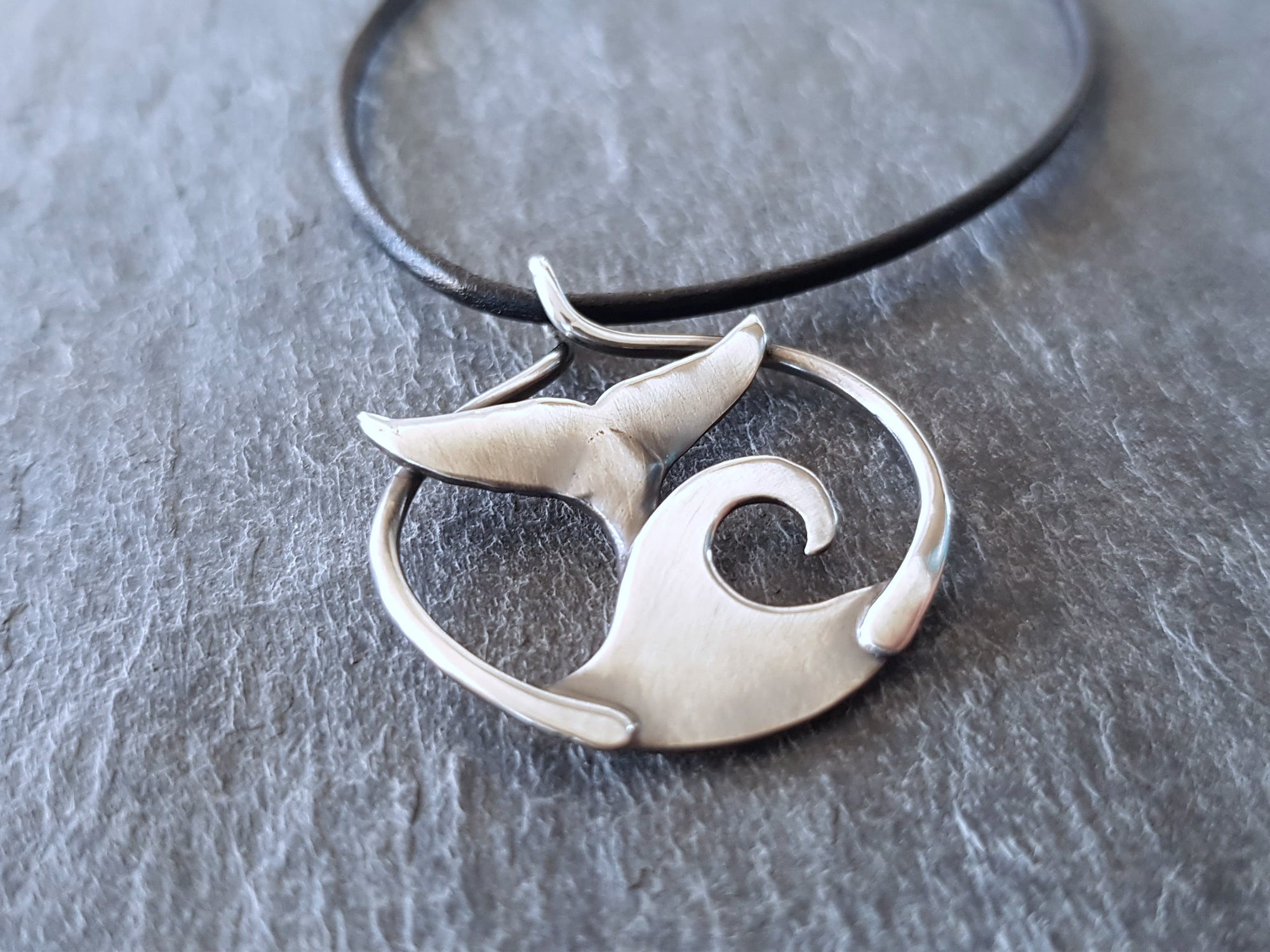 Diving Whale Sterling Silver Pendant necklace