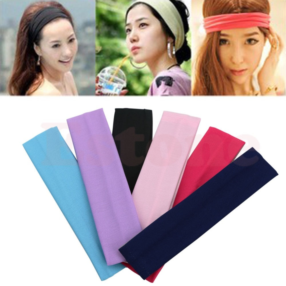 Girls Sports Softball Yoga Gym Sweatband Headband Cotton Stretch Soft Hair Band