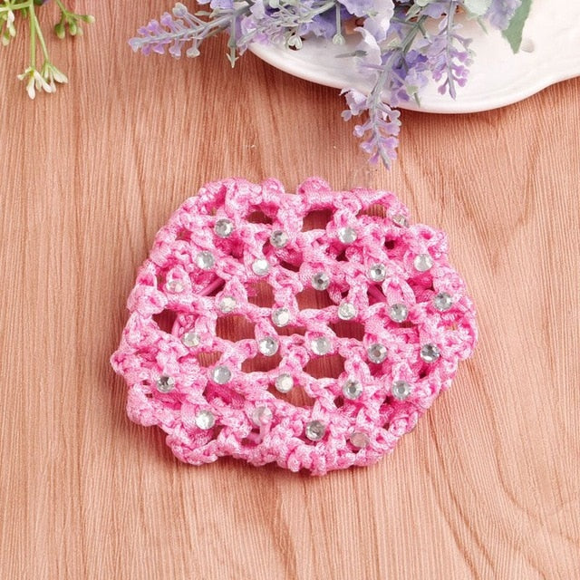 women Girls Rhinestone Bun Cover Crochet Cover Snood pink Hair Net For Ballet Dance Skating Pearl