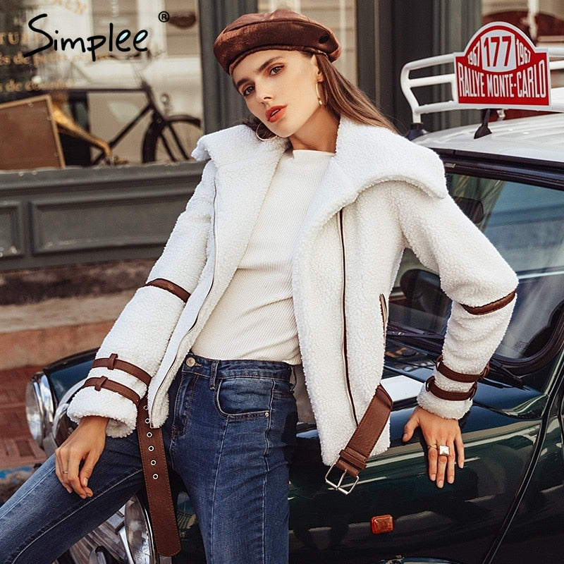 Simplee Turndown collar zipper winter women coat parka Sash shaggy white thick warm outerwear Winter down jacket streetwear