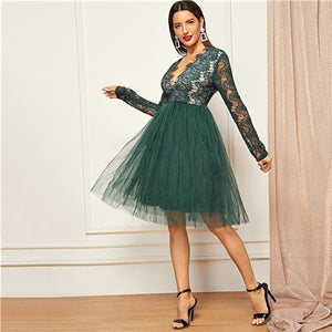 SHEIN Green Deep V-Neck Lace Dress Long Sleeve High Waist Transparent Autumn Sexy Party Night Out Elegant Women Dresses
