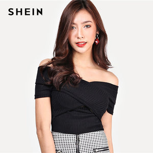 SHEIN Highstreet Black Wrap Design Bardot Ribbed Off the Shoulder Pullovers Top 2018 Autumn Casual Women Modern Lady Tshirt Top