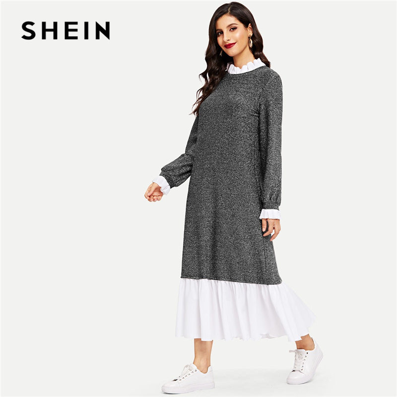 SHEIN Grey Modern Lady Ruffle Trim Glitter Hijab Stand Collar Drop Waist Dress Casual Elegant Women Autumn Modern Lady Dresses
