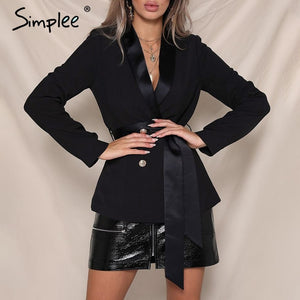 Simplee Elegant sash v neck blazer women 2018 Autumn winter double breasted silk suit outerwear coats Office lady lace up jacket
