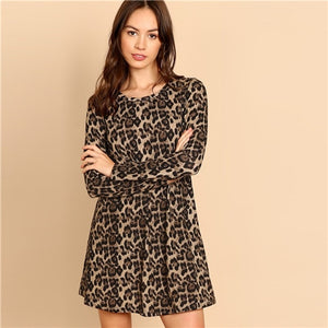 SHEIN Multicolor Leopard Print A Line Mini Dress Women Casual Highstreet Long Sleeve Round Neck Autumn Minimalist Dresses