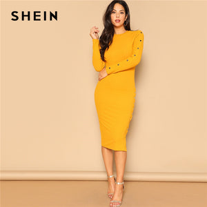 SHEIN Ginger Office Lady Snap Button Side Rib-knit Fitted Bodycon Pencil Dress Women Elegant Solid Autumn Long Sleeve Dresses