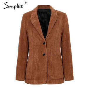 Simplee Autumn corduroy women brown blazer Casual Long Sleeve pockets ladies blazer Single breasted office lady jacket coat