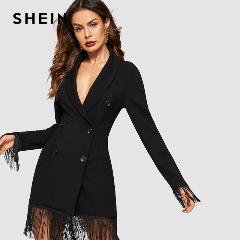 SHEIN Black Fringe Trim Shawl Collar Double Breasted Slim Fit Plain Coat 2019 Spring Office Lady Women Going Out Outerwear