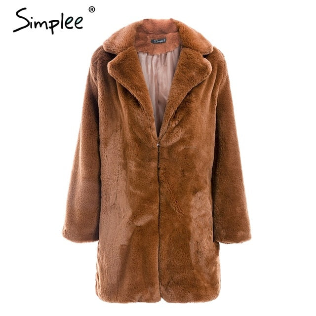 Simplee Elegant shaggy women brown faux fur coat Autumn winter warm plush teddy coat Female oversize party outwear 2018