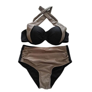 Summer 2019 Halter Bikini Wired Padded Swimsuit Cut Out Swimwear Vintage Swimwear Patchwork Beach Wear Push Up Bikini Set