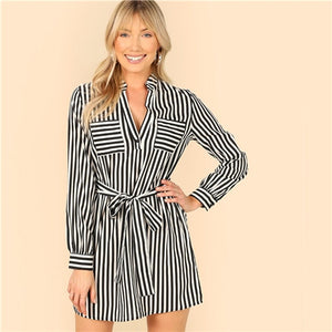 SHEIN Black and White Notch Neck Belted Striped Shirt Dress Women Spring Office Lady Workwear Straight Short Casual Dresses