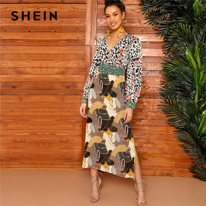 SHEIN Multicolor Mixed Scarf Print Tie Waist Split Side Dress Women Spring Wrap V-Neck Fit and Flare A Line Bohemian Dresses