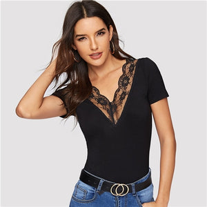 SHEIN Sexy Black Double V Neck and Back Scallop Lace Trim Form Fitting T Shirt Women Summer Short Sleeve Slim Sheer Tshirt Tops