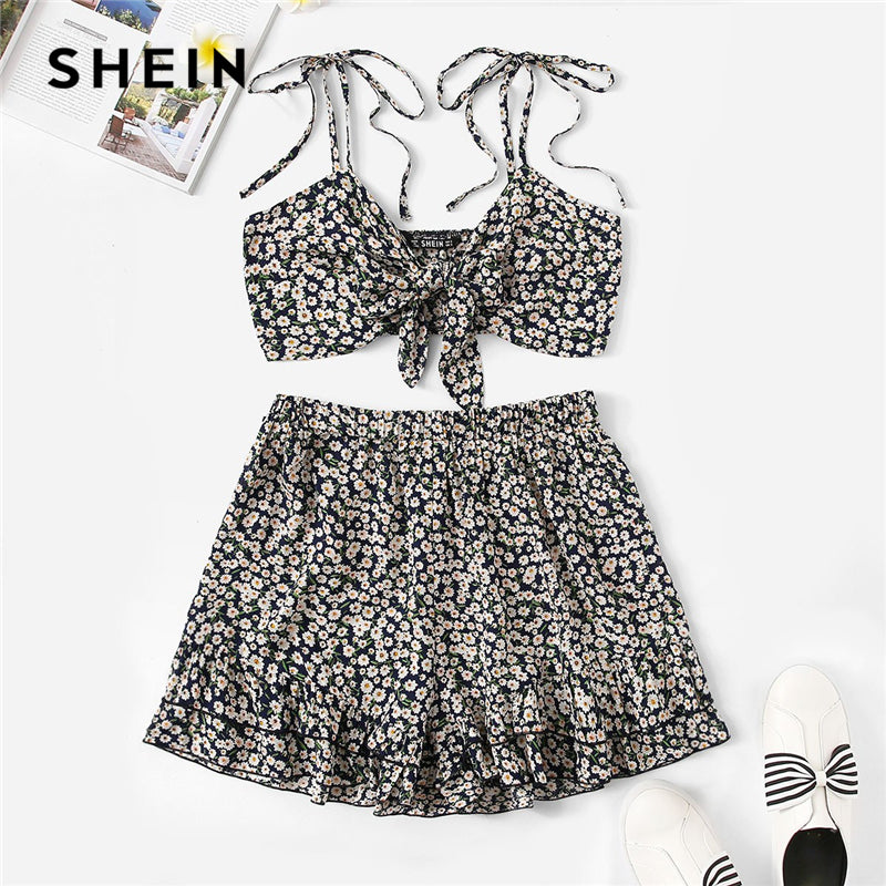 SHEIN Multicolor Knot Strap Allover Flower Camisole Top and Ruffle Shorts Women Set Summer Beach Boho Sexy Crop Two Piece Set