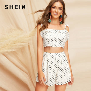 aa6cc5930d SHEIN Boho White Knot Back Polka Dot Top And Shorts Set Women Two Pieces  Sets 2019