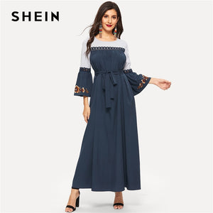 SHEIN Abaya Navy Floral Flare Sleeve Lace Applique Belted Maxi Dress Women Spring 2019 Color-block Ruffle Straight Dresses