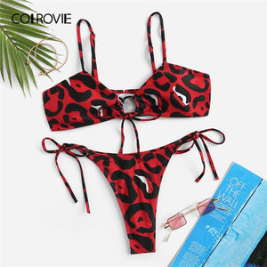 COLROVIE Leopard Drawstring Top With Tie Side Thong 2019 Summer Beach Style Wireless Bra And Panties Holiday Wear Women Set