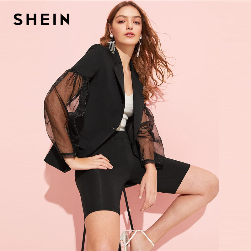 SHEIN Black Notched Collar Contrast Mesh Sleeve Single Button Sheer Blazer Women 2019 Spring  Minimalist Coat Outerwear
