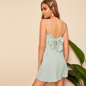 SHEIN Green Boho Button Front Bow Detail Striped Slip Mini Dress Women Beach Casual Spaghetti Strap Sleeveless Summer Dress