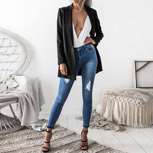 2019 Women Casual Office Work Black Blazers Elegant Lapel Neck Long Sleeve Slim Jackets Fashion Open Front Solid Coat Outwear