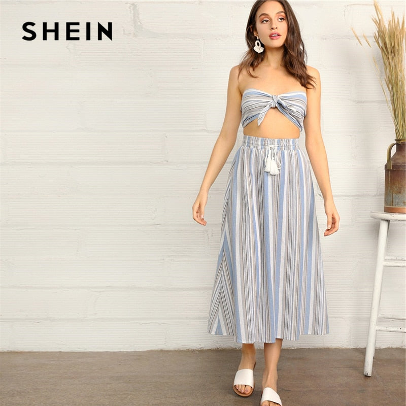 SHEIN Knotted Striped Tube Top And Skirt Set 2019 Summer Blue Strapless Sleeveless Women Tassel Drawstring Two Piece Set