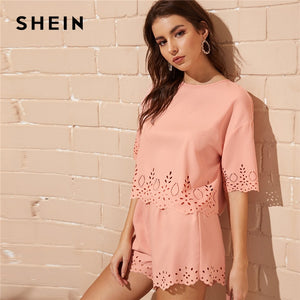 SHEIN Casual Pink Scallop Trim Laser Cut Keyhole Back Top and Shorts 2 Piece Set Women Summer Solid Boho Loose Two Piece Set