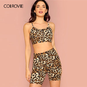 COLROVIE Leopard Print Crop Cami Top With Leggings Shorts 2 Piece Set Women 2019 Summer Sexy Sleeveless Female Two Piece Outfits