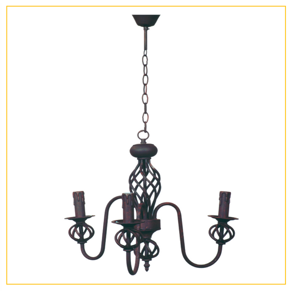 CH065/3 RUST - Wrought Iron Chandelier