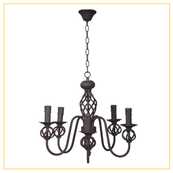 CH065/5 RUST - Wrought Iron Chandelier