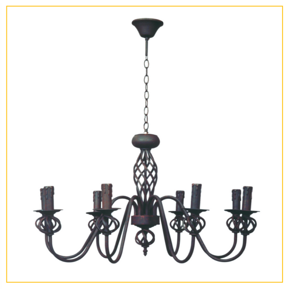 CH065/8 RUST - Wrought Iron Chandelier
