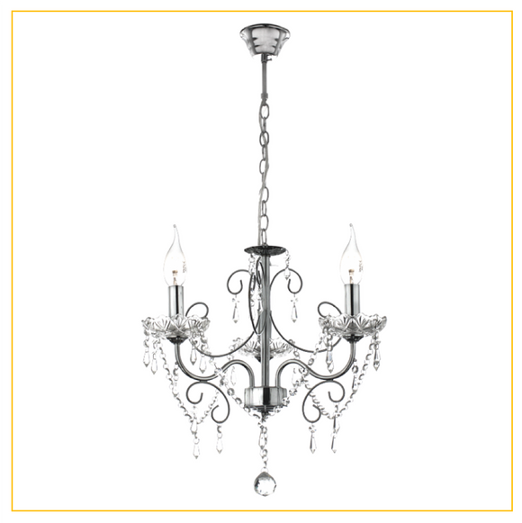 CH388/3 CHROME - Polished Chrome Chandelier with Crystals