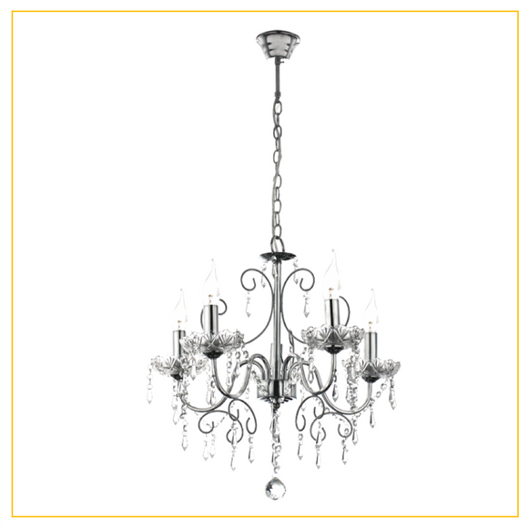 CH388/5 CHROME - Polished Chrome Chandelier with Crystals