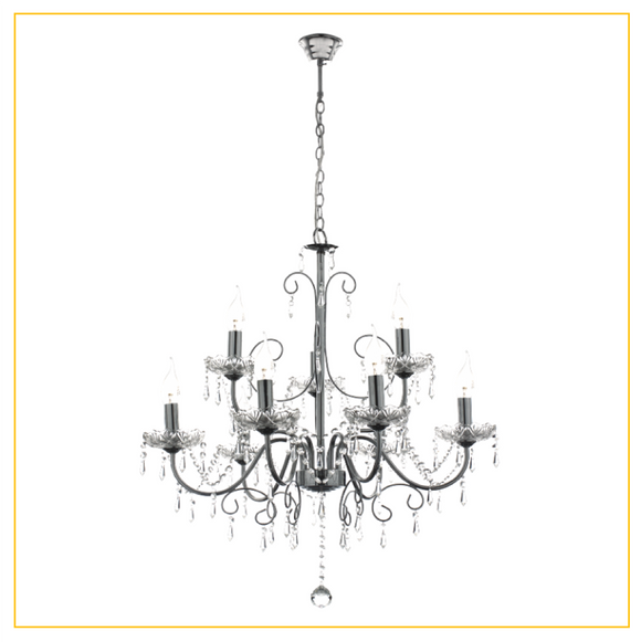 CH388/9 CHROME - Polished Chrome Chandelier with Crystals