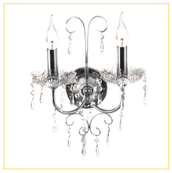 WB388/2 CHROME - Polished Chrome Wall Bracket with Crystals