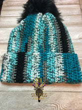 Load image into Gallery viewer, Adult Blue Brim Pom Beanie