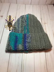 Grey Multi Color Adult Brim Beanie