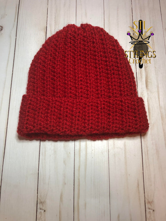 Red Adult Brim Beanie