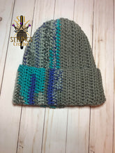Load image into Gallery viewer, Grey Multi Color Adult Brim Beanie