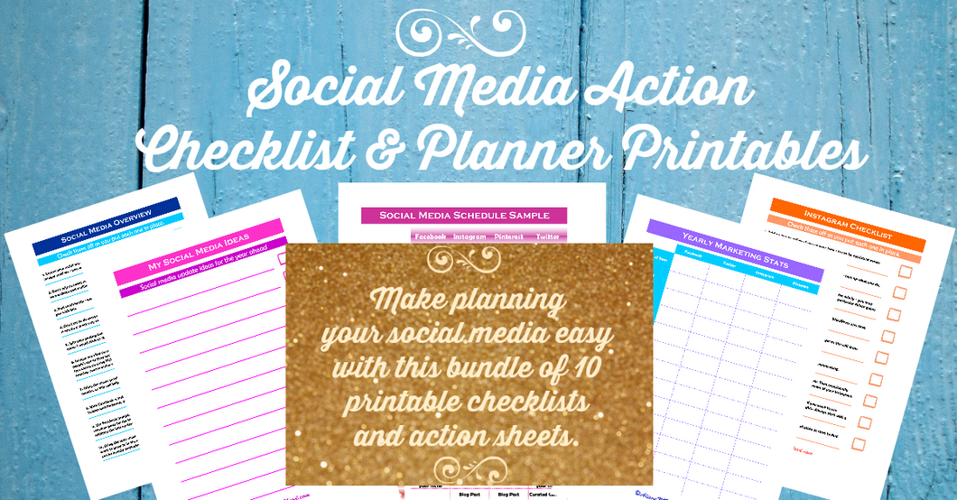 Social Media Action Lists & Worksheets Bundle