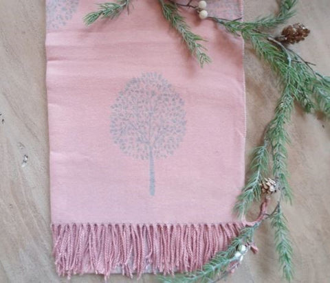 Pink tree of life scarf