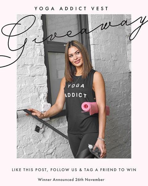Tribe Urban Luxe Wear Yoga Addict Vest Giveaway promo.