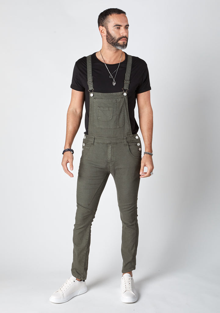 Full frontal pose wearing men's skinny fit, green dungarees.