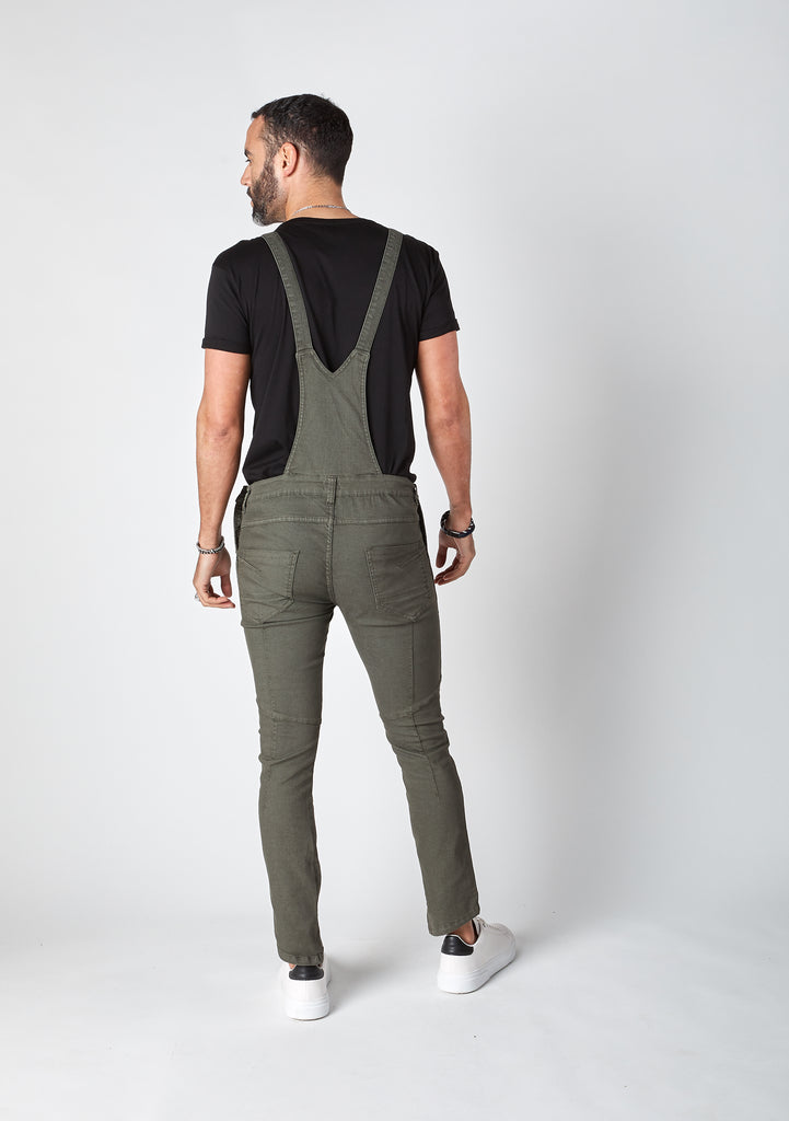 Full rear pose showing dungarees straps, rear pockets  and back detailing.