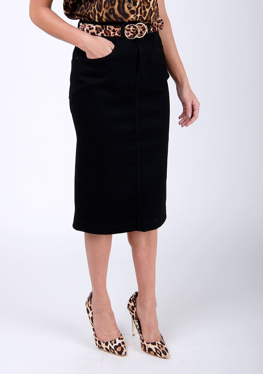 Half-frontal focus on front of casual, black denim midi-skirt.